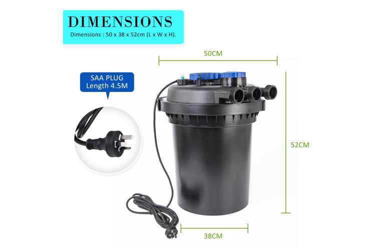 Aquarium Pond UV Filter 10000L/H + Pump 10000L/H