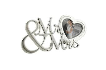 Widdop Sentiment Juliana Mr & Mrs With Heart Silver Plated Frame (Silver) (One Size)
