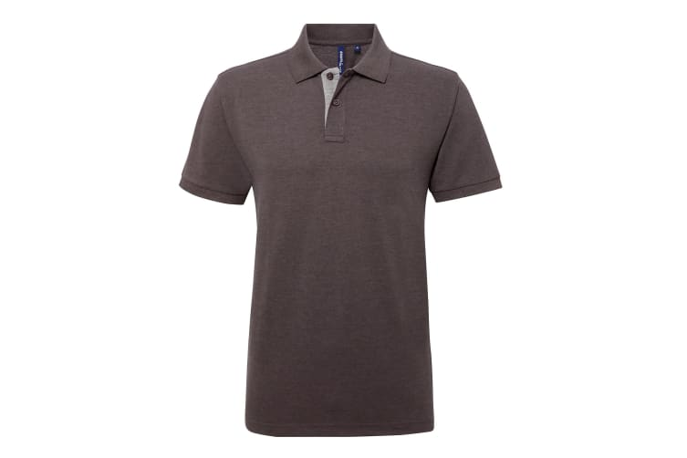 Asquith & Fox Mens Classic Fit Contrast Polo Shirt (Charcoal/ Heather Grey) (M)