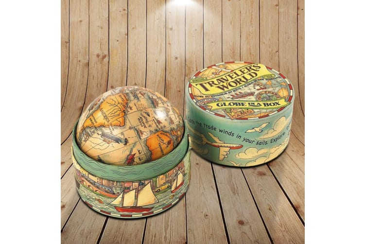 Traveller's World Globe In A Box – Earth Map Ball Ornament Educational Kids Travel Geography