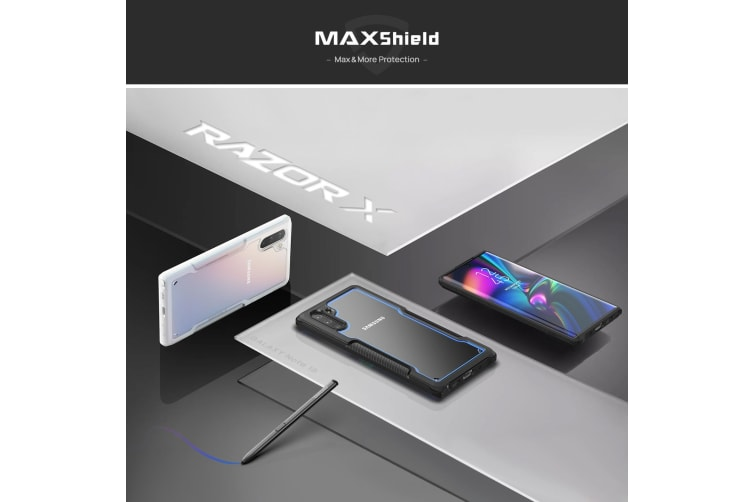 MAXSHIELD Slim Clear Heavy Duty ShockProof Case for Note 10-Blue