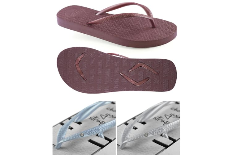 Women's Burgundy Slim Thongs with 2x Pairs of Interchangeable Blue and Grey Diamante Straps Size 7/8
