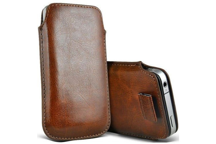 """Apple iPhone 8 (4.7"""") Brown Pull Tab Slim Faux Leather Pouch Sleeve Case by MEZON – Shock Absorption, Wireless Charging Compatible (iPhone 8, Brown)"""