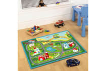 Kids Non Slip Road Map Beach Rug Blue