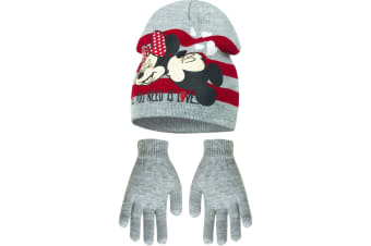 Disney Minnie Mouse Childrens Girls All You Need Is Love Winter Hat And Gloves Set (Grey) (54cm)