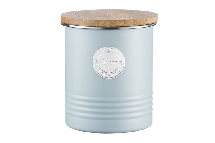 Typhoon 1L Blue Metal Tin Sugar Canister Container Storage Jar w Bamboo Wood Lid