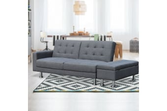 3 Seater Linen Sofa Bed Couch with Storage Ottoman - Grey