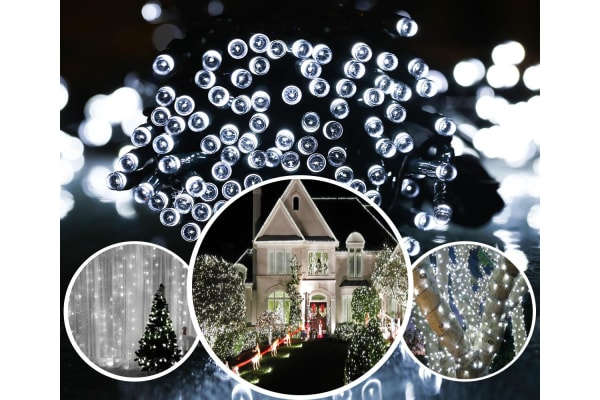 250 LED Solar Powered String Christmas Party Indoor Outdoor Lights - White/RGB - White