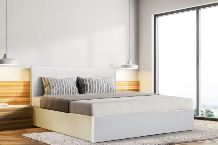 Ovela Bed Frame - Siena Gas Lift Collection (White, King)