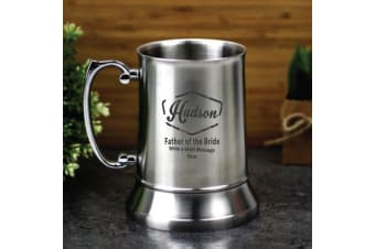 Father Of The Bride Engraved Personalised Stainless Beer Stein Glass