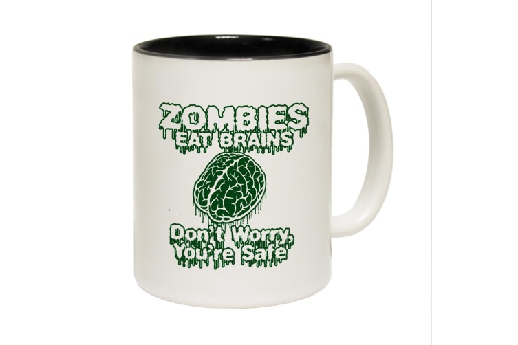 123T Funny Mugs - Zombies Brains - Black Coffee Cup