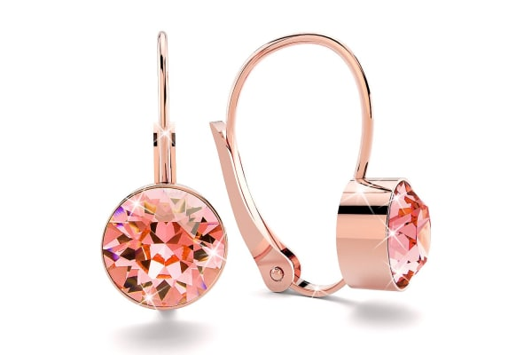 Audrey Lever Back Earrings w/Swarovski Crystals -Rose Gold/Light Peach