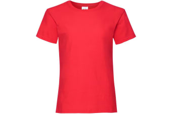 Fruit Of The Loom Girls Childrens Valueweight Short Sleeve T-Shirt (Red) (7-8)