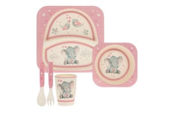 Bird & Ellie Childrens/Kids Bamboo Dinner Set (Pink/Cream) (One Size)