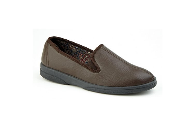 Sleepers Mens Samos II Centre Seam Gusset Slippers (Brown) (11 UK)