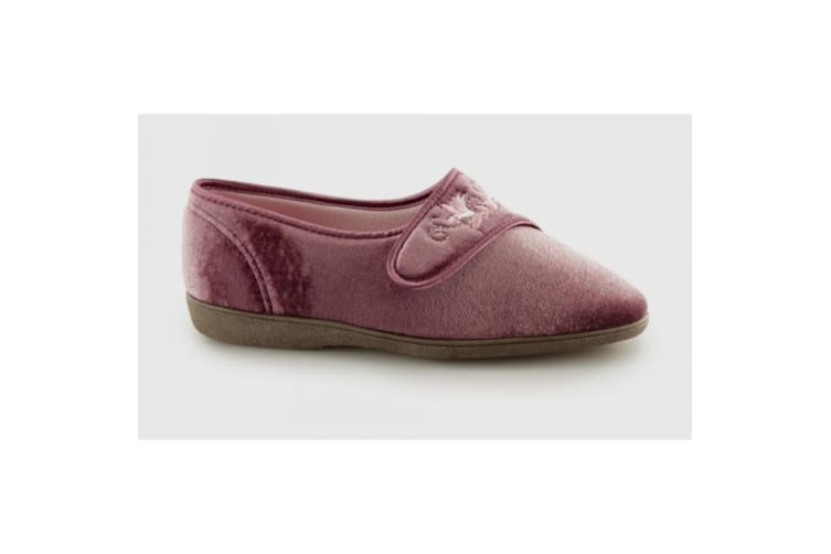 Sleepers Womens/Ladies Jolene Touch Fastening Embroidered Slippers (Heather) (4 UK)