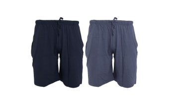 Tom Franks Jersey Lounge Shorts (2 Pack) (Navy/Denim Blue) (MEDIUM)