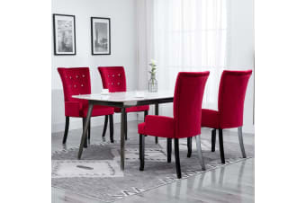vidaXL Dining Chair with Armrests 4 pcs Red Velvet