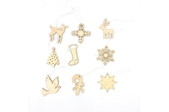 36pcs Natural Wooden Christmas Tree Ornaments Hanging Decoration Decor