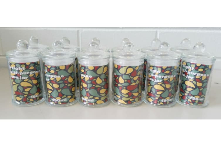 12 x Glass Apothecary Candy Jar with Lid, for Candy & Candle Waxing 150ml FREE D