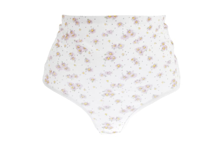 Passionelle Womens/Ladies Floral Tunnel Elastic Cotton Briefs (Pack Of 3) (White/Floral) (66-68in)