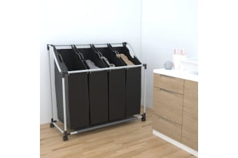 vidaXL Laundry sorter with 4 bags black grey