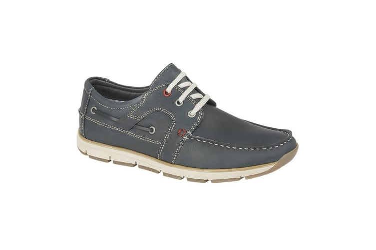Roamers Mens Laced Leather Moccasin Leisure Shoe (Navy) (8 UK)
