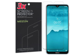 [3 Pack] Nokia 6.2 Ultra Clear Screen Protector Film by MEZON – Case Friendly, Shock Absorption (Nokia 6.2, Clear)