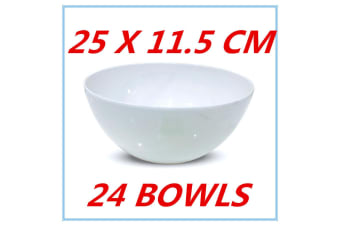 24 X GLOSSY WHITE MELAMINE ROUND SALAD BOWLS BOWL PARTY FUNCTION EVENT FD