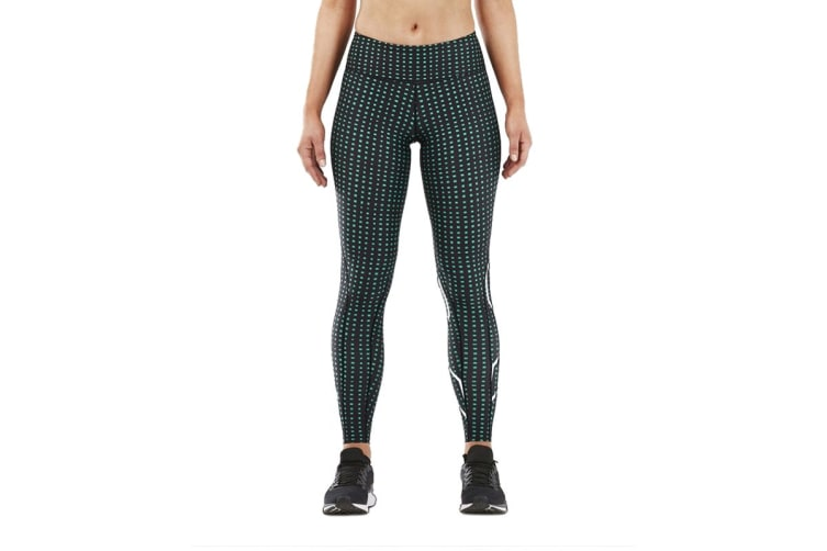 2XU Women's Print Mid-Rise Compression Tights (Black/Dotted Green, Size S)