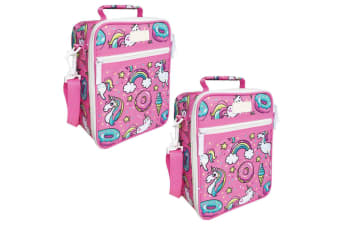 2x Sachi Thermal Insulated Picnic Lunch Tote Cooler Carry Pouch Bag Box Unicorn