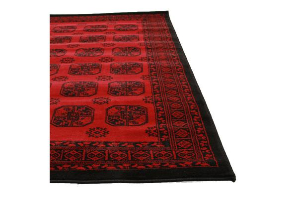 Classic Afghan Pattern Rug Red 330x240cm