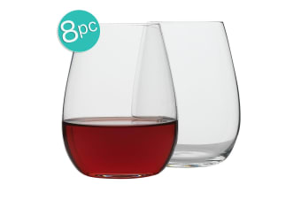 8pc Ecology Otto European 460ml Clear Stemless Red White Wine Glasses Set
