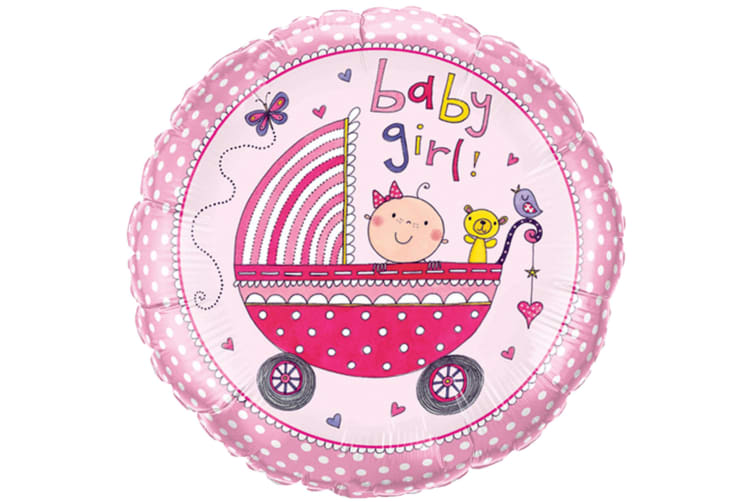 Qualatex 18 Inch Baby Boy/Girl Pram Design Circular Foil Balloon (Pink) (One Size)