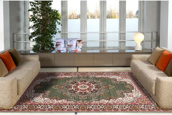 Traditional Pattern Medallion Rug Green 330X240cm