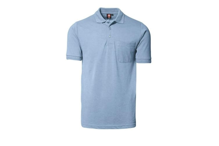 ID Mens Classic Short Sleeve Pique Regular Fitting Polo Shirt With Pocket (Light blue) (L)