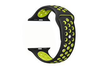 Soft Silicone Replacement Band Watch Band For Apple Watch Series 5 4 3 2 1 Watch Band for Iwatch 5 Black Yellow 42MM 44MM