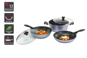 Ovela 5pc Set BlackStone Non-Stick Induction Cookware with Soft Touch Handle