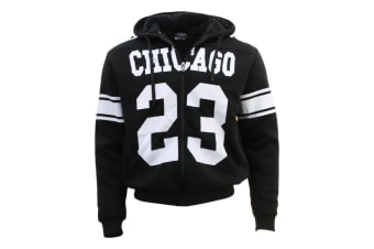 Men's Thick Winter Sherpa Fur Hoodie Hooded Sports Coat Bomber Jacket - CHICAGO 23 - Black