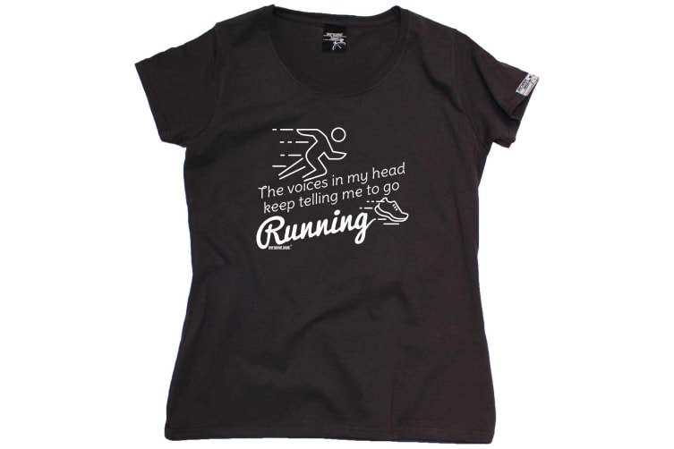 Personal Best Running Tee - The Voices In My Head Keep Telling Me To Go - (Small Black Womens T Shirt)