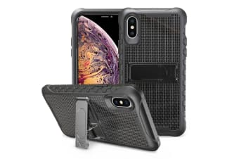 Black Honeycomb For iPhone XS MAX Case Armour Phone Cover KickStand