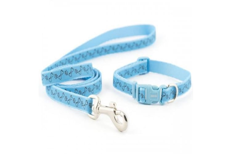 Ancol Small Bite Paw/Bone Dog Collar And Lead Set (Blue) (One Size)