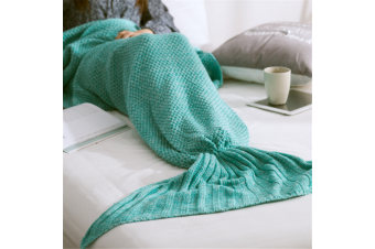 Knitted Mermaid Tail Blanket Super Soft Sleeping Bag MintGreen