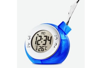 Water Powered Alarm Clock Large Lcd Display Calendar Temperature - Blue