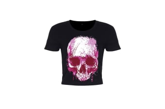 Unorthodox Collective Ladies/Womens Cursive Skull Crop Top (Black)