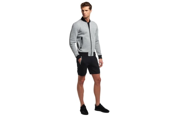 Superdry Men's Gym Tech Bomber Top (Grey Grit, X-Large)