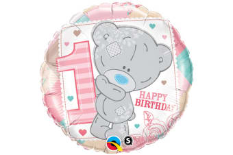 Qualatex 18 Inch Me To You Tatty Teddy Happy 1st Birthday Circular Foil Balloon (White/Pink) (One Size)