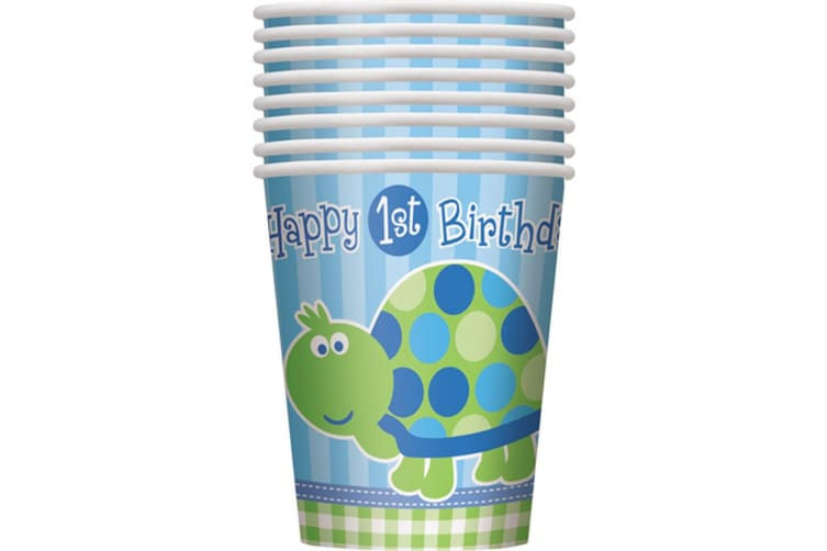 Unique Party Turtle 1st Birthday 9oz Cups (Pack of 8) (Blue/Green) (One Size)