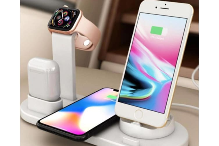 Select Mall Applicable To Apple Mobile Phone Headset 3 In 1 Wireless Charging Bracket Fast Wireless Charging-White