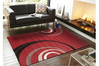 Retro Waves Rug Red Black White
